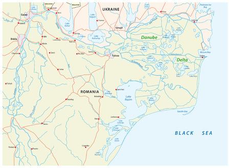 Map of the Danube delta in romania and ukraine