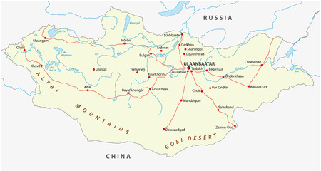 mongolia road map Illustration