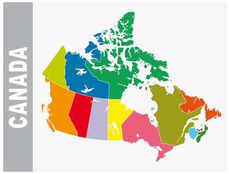 Colorful Canada administrative and political vector map
