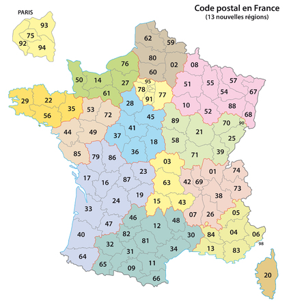 france 2-digit postcodes map 2017 (13 Regions) Illustration