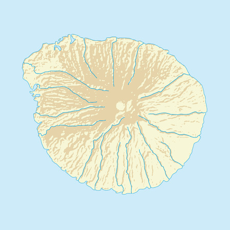 volcanic: Imaginary volcanic Iceland map with coast and rivers