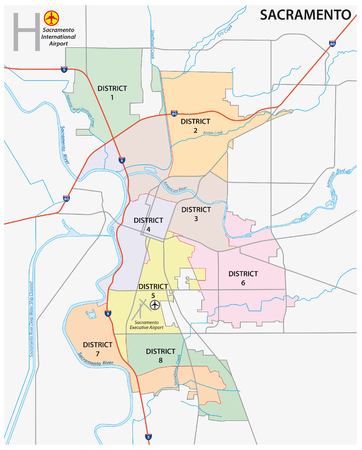 Sacramento district administrative and political map
