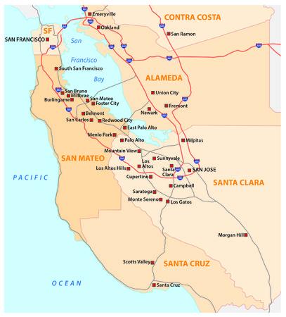 Umfrage Vektorkarte von kalifornischen Silicon Valley, USA