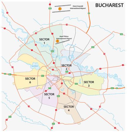Road administrative and political map of the Romanian capital Bucharest Ilustração