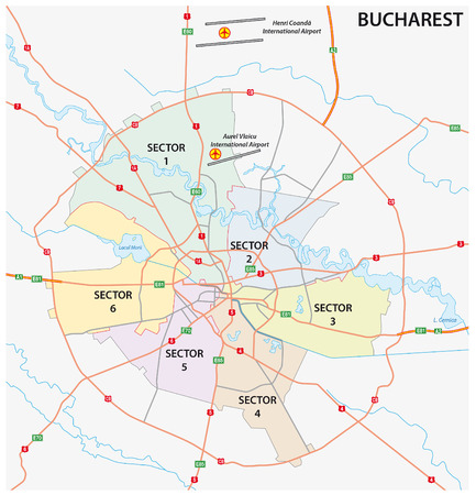 Road administrative and political map of the Romanian capital Bucharest Illustration