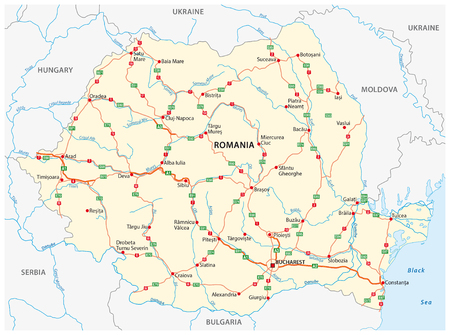 Vector road map of the Eastern European state Romania Illustration