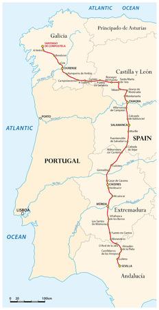 santiago: Map of the Way of St. James from Seville to Santiago de Compostela (Via de la Plata), Spain