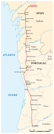 santiago: Map of the Way of St. James from Coimbra to Santiago de Compostela (Caminho Portugues), Spain, Portugal