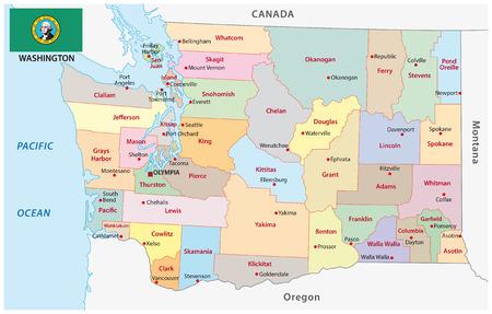 Administratieve en politieke vector kaart van de Amerikaanse staat Washington met vlag Stock Illustratie