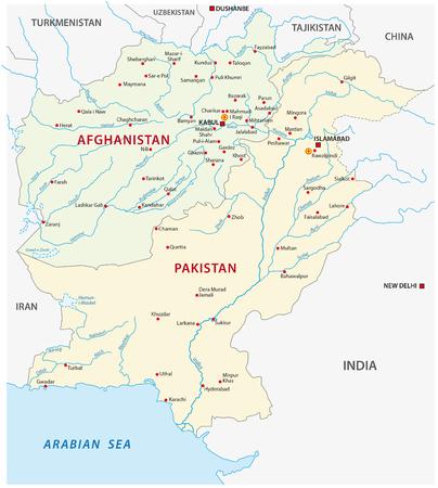islamabad: pakistan afghanistan vector map Illustration