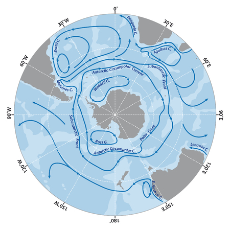 antarctic: Vector map of the Antarctic Circumpolar Current