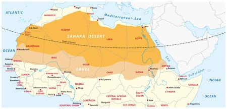Mapa del desierto del Sahara y la zona del Sahel Foto de archivo - 70778882