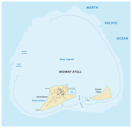 Vector map of the Midway Atoll in the Pacific Ocean Northern