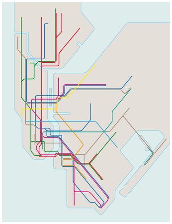 kolorowe mapę metra wektora z Nowego Jorku