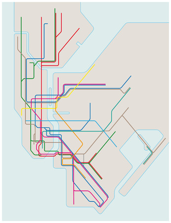 colored subway vector map of New York City Vettoriali