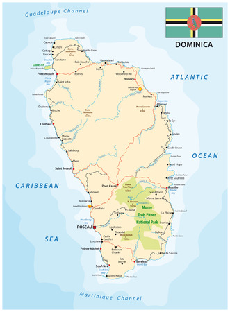 guadeloupe: Dominica road vector map with flag, Lesser Antilles