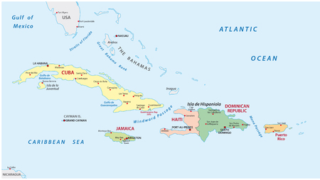 caribbean beach: Political and administrative vector map of the lesser antilles