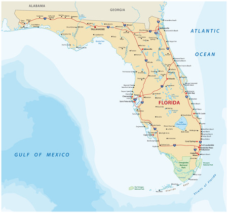 Florida vector road map with national parks Illustration