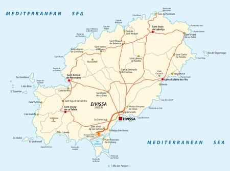 Carte routière vectorielle de la mer Méditerranée espagnole Eivissa