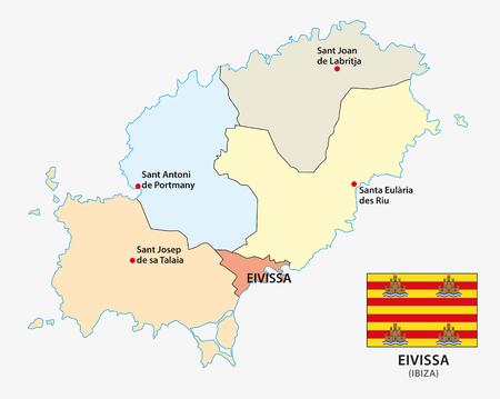 Carte vectorielle administrative et politique de la mer Méditerranée espagnole Eivissa avec indicateur