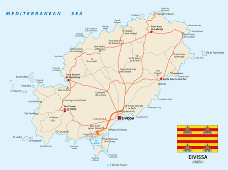 Feuille de route vecteur de la mer Méditerranée espagnole Eivissa avec le drapeau Vecteurs