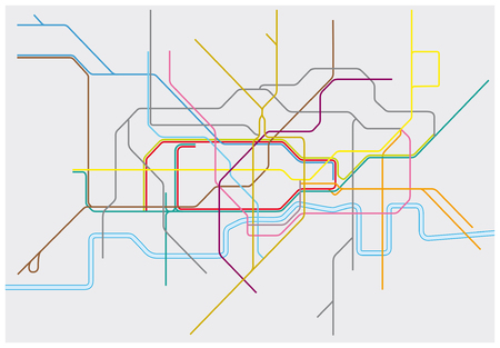 Vector map of London Underground, Overground, DLR, and Crossrail Illustration