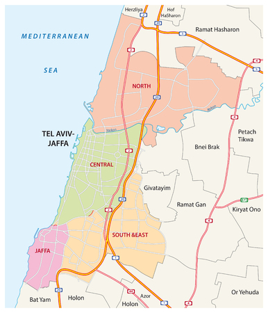 aviv: Administrative, roads and political map of the Israeli city of Tel Aviv-Jaffa