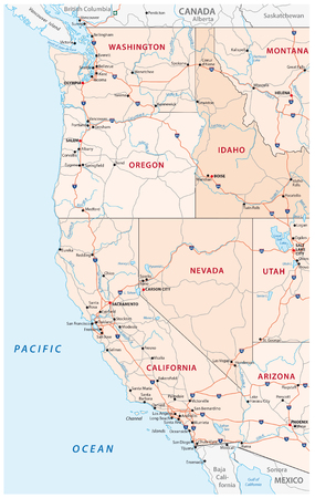 Roads, political and administrative map of the Western United States of America