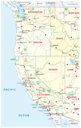 Roads, political and administrative map of the Western United States of America with national parks 免版税图像 - 72208709