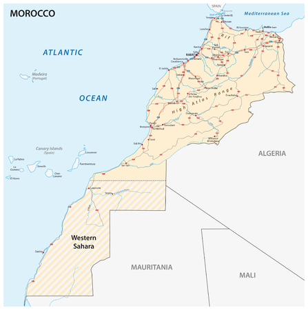 atlantic city: Road map of the Kingdom of Morocco