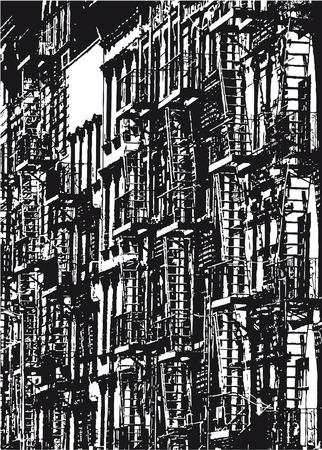 Silhouet van een rij huizen in New York City in zwart-wit Stock Illustratie