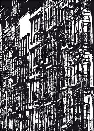 Silhouette of a row of houses in New York City in black and white