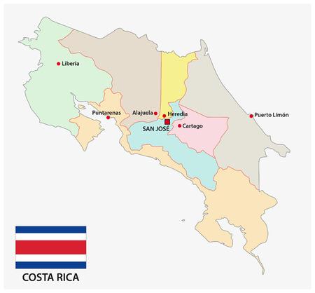 bandera de costa rica: mapa administrativo y político de Costa Rica con la bandera