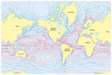 Vector wereldkaart van alle zeestromen