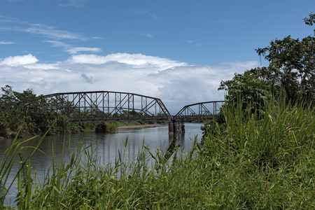 forest railway: Old railway and border bridge across the Sixaola River between Costa Rica and Panama