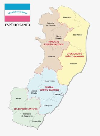 Espirito santo administrative and political map with flag Ilustração