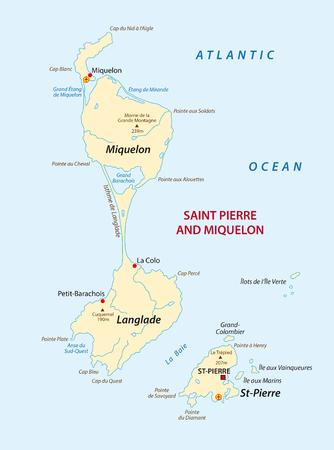 Un mapa vectorial de las islas francesas de San Pedro y Miquelón Foto de archivo - 76187834