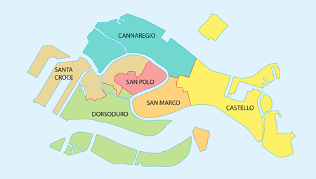 Overzicht kaart van de zes historische wijken van Venetië, Italië Stockfoto - 76774729
