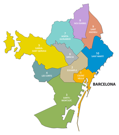 urbane: Administrative and political map of the Catalan capital of Barcelona
