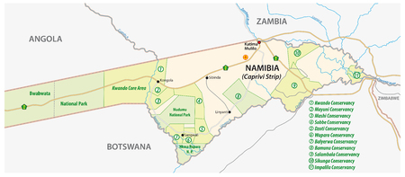 conservancy: National park and conservancy map of the Caprivi Strip in the north east of Namibia