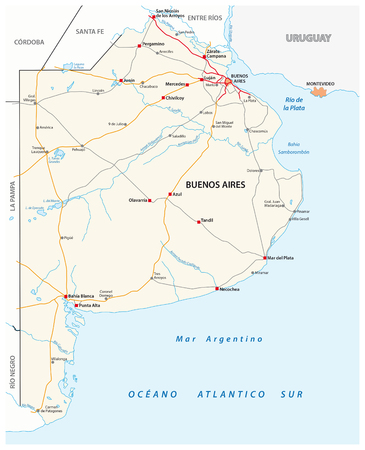 atlantic city: Road map of the Argentine province of Buenos Aires