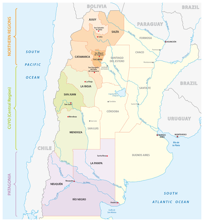 Map of the most important wine growing areas in Argentina