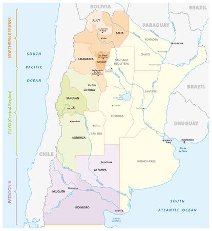 Kaart van de belangrijkste wijnbouwgebieden in Argentinië