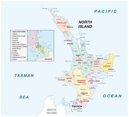 Nieuw-Zeeland Noord-eiland administratieve en politieke kaart