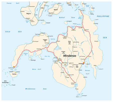 largest: Road map of the second largest Philippine island Mindanao. Illustration