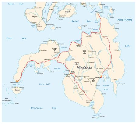 Road map of the second largest Philippine island Mindanao. Illustration