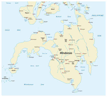 Map of the second largest Philippine island Mindanao