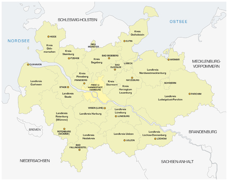 Map of the North German Metropolregion of Hamburg Illustration