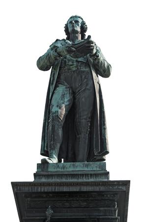 Statue of Friedrich Schiller in Vienna, isolated Stock Photo