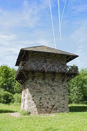 Reconstructed roman limes and watchtower near former castle train coat